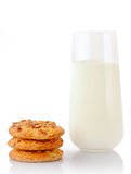 Stack of three homemade peanut butter cookies and glass of milk Stock Image
