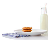 Stack of three homemade peanut butter cookies on white ceramic plate Stock Photo