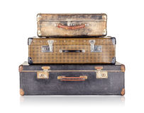 Stack of three old suitcases Stock Photos
