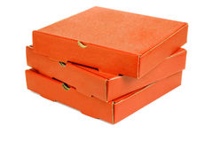 Stack of three pizza takeaway boxes. On white background Royalty Free Stock Photo