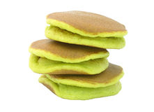 A stack of three plain pancakes on a white background. Royalty Free Stock Images