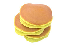 A stack of three plain pancakes on a white background. Royalty Free Stock Photo