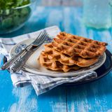 Plain Waffles on a Plate Stock Photo