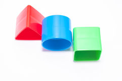 Stack of three plastic geometric blocks Royalty Free Stock Image