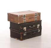 stack of three retro suitcases Stock Photography