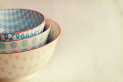 Stack of three trendy painted bowls horizontal Stock Photos