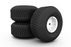 Stack of three wheel. Tyre for car Stock Photo