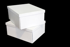 Stack of three white boxes Stock Images