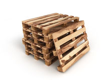 Stack of three wooden pallets One pallet near  on white. Stack of three wooden pallets One pallet near  on Stock Images