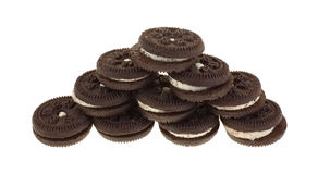 Tiny Chocolate Filled Cookies Stack Stock Photography