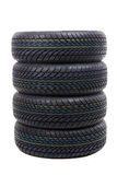 Stack of tires isolated on white Stock Photo