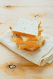 Stack of toast bread on a napkin Stock Image