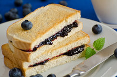Stack of toasted bread with blueberry jam Stock Photography