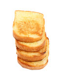 Stack of toasts on white plate Stock Image