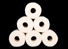 Stack of toilet paper rolls Royalty Free Stock Image