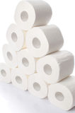 Stack of toilet paper rolls. Isolated on white Stock Images