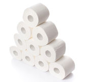 Stack of toilet paper rolls. Isolated on white Stock Photo