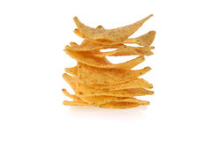 Stack of tortilla chips. Over white background Stock Photography