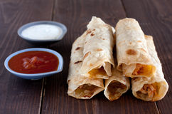 Stack of tortilla flautas Stock Photography