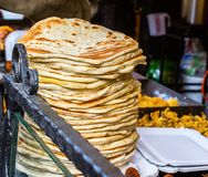 Stack of tortillas. Street food stock photography
