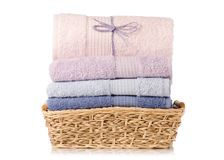 A stack towel in basket Stock Images