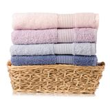 A stack towel in basket Stock Photo