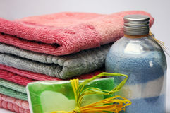 Stack of towels. Bath towels of different colours piled on top of one another Stock Images