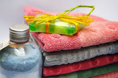 Stack of towels. Bath towels of different colours piled on top of one another Royalty Free Stock Photos