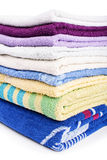 Stack of towels. Close-up shot of  bathroom towels isolated on white background Stock Image