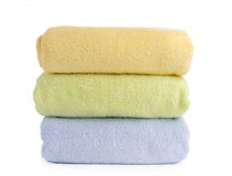 Stack of towels isolated on white Stock Images