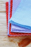 Stack of towels with polka dots Stock Image