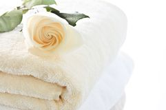 Stack of towels and rose Stock Photography