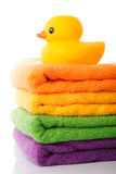 Stack towels and rubber duck Royalty Free Stock Photo