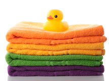 Stack towels and rubber duck Stock Images