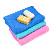 Stack of towels and soap Stock Image