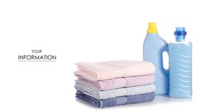 A stack of towels softener conditioner liquid laundry detergent pattern. On white background isolation Stock Photo