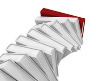 Stack tower of white books with red top leader. 3d Royalty Free Stock Photography