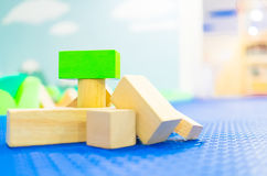 Stack of Toy block on children playground Royalty Free Stock Images