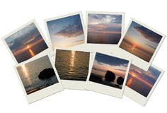 Stack of travel photos with sunrises and sunsets