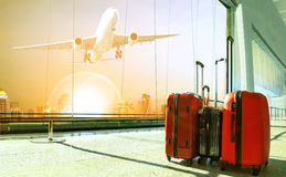Stack of traveling luggage in airport terminal building and pass Royalty Free Stock Images