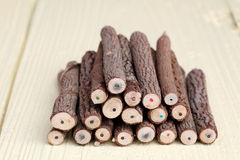 Stack of tree trunk pencils Royalty Free Stock Image