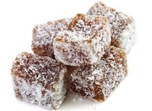 Stack of turkish delight with coconut Stock Photo