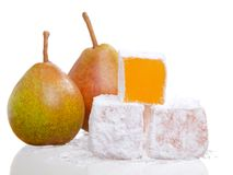 Stack of turkish delight with two pear Royalty Free Stock Image