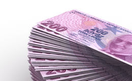 Stack of Turkish Lira Stock Photography