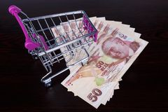 Turkish Lira Banknotes with Shopping Cart Consuming Concept Royalty Free Stock Photo