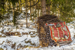 stack of twigs in a  snowy forest Royalty Free Stock Photos