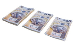 Stack of two hundred Polish zloty. Banknotes isolated on white background stock photos