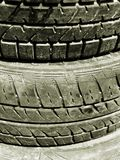 Stack of Tyres. In black and white Stock Image