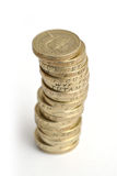Stack of UK £1 Coins. Money (£1 coins) . This is a pile of British one pound coins Royalty Free Stock Images