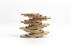 Stack of Ukrainian coins on the white background Stock Photo